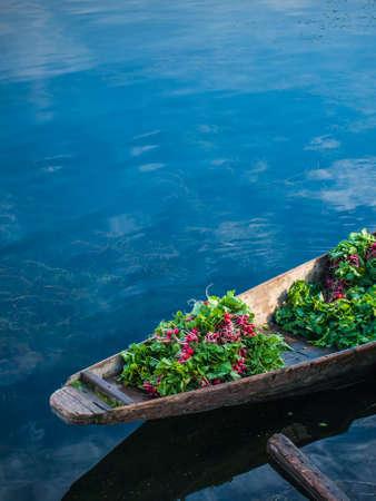 kashmir: Vegetable on boat, Kashmir, India