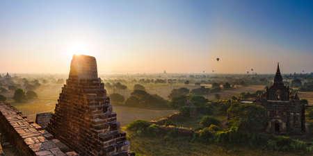 fascinate: Sun rises in Bagan, Myanmar Stock Photo