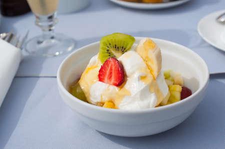 Fruit yogurt in honey