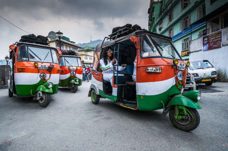 wheeler: GANGTOK, INDIA-APRIL 10: The classical auto rickshaw is the unique vehicle style of local transportation in several Asian countries on April 10, 2010 in Gangtok, India.