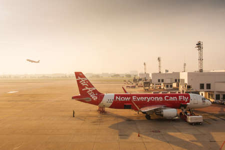 BANGKOK,THAILAND-APRIL 28: Air Asia a low cost Asian airlines is waiting for take off in Don Muang international airport on April 28, 2015 Editorial