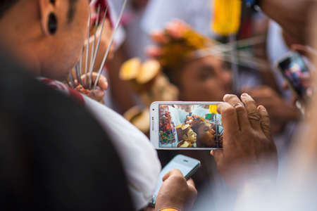 Phuket, Thailand - October 18, 2015: Ceremony before parade of devotees along old town street of Phuket town in vegetarian festival. Editorial