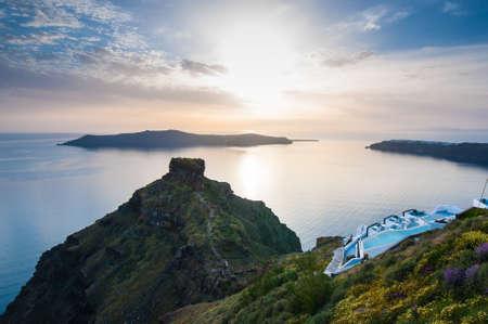 Sunset in Santorini Stock Photo