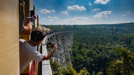 Gokteik, Myanmar - January 5, 2014: Gokteik Viaduct, at 318ft high and 2257ft across, the second-highest railway bridge in the world, Myanmar Editöryel