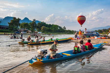 Vang Vieng, Laos-May 1,2015 : Vang Vieng is a tourist attraction town in northern Laos.