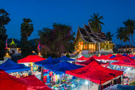 A famous walking street in the world heritage site, Luang Prabang, Laos.