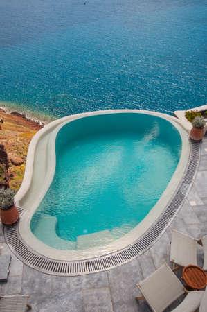 Swimming pool in Santorini