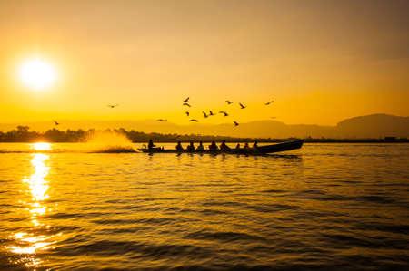 Sunset in Inle lake, Myanmar Stock Photo