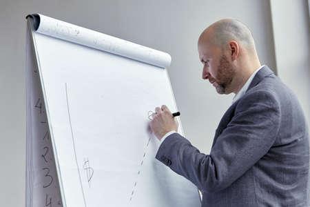 ハゲの実業家が基板上に断続線を描画