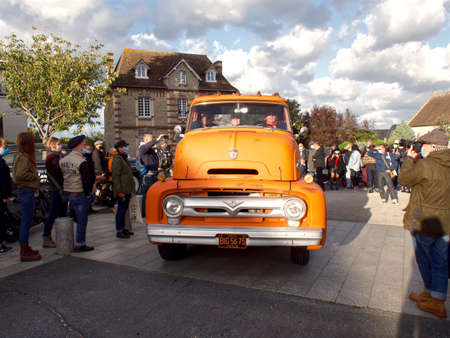 Ouistreham, France September 26, 2020 Normandy Beach Race second edition of old car and motorbike rallies on the beach, presentation of vehicles on the city streets.