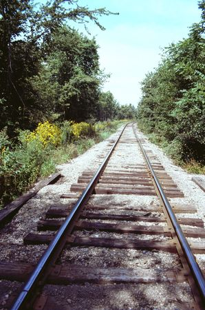 Railroad track in country scene