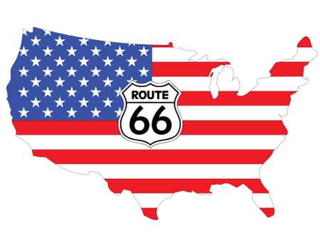 Drapeau des USA avec le panneau de la route 66