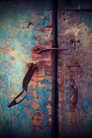 Closeup vintage old metal door photo