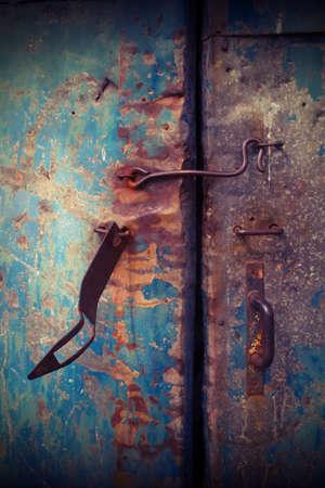 Closeup vintage old metal door photo