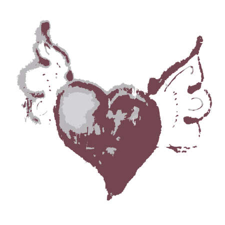 Heart with wings illustration in the form of graffiti Vector