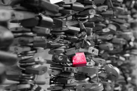 love rose: Old Love Locks a modern symbol of love to a bridge black and white photo
