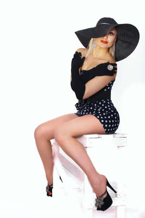 french manicure sexy woman: Fashion portrait of a woman , black hat and red lips