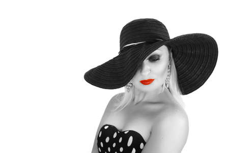 french manicure sexy woman: Black and White Fashion portrait of a woman , black hat and red lips.