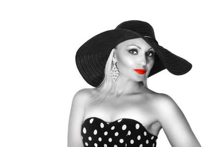 Black and White Fashion portrait of a woman , black hat and red lips. photo