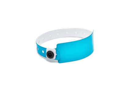 Colored vinyl bracelet on the arm on White Background photo
