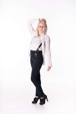 blondy: Beautiful blondy young Businesswoman In a white shirt stands close up over white background