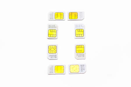 Mobile simcard numbers isolated on white background Number zero photo