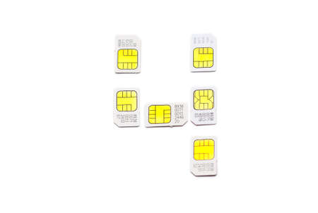 Mobile simcard numbers isolated on white background Number four photo