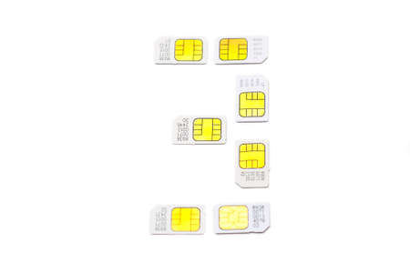 Mobile simcard numbers isolated on white background Number three photo