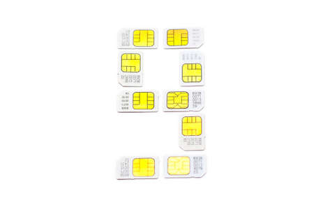 Mobile simcard numbers isolated on white background Number nine photo