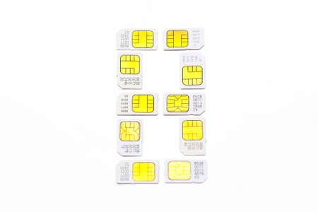Mobile simcard numbers isolated on white background Number eight photo