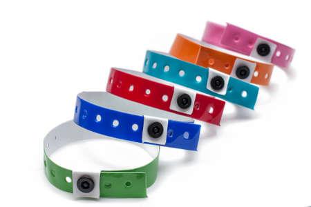 multicolored vinyl bracelets isolated on White Background.