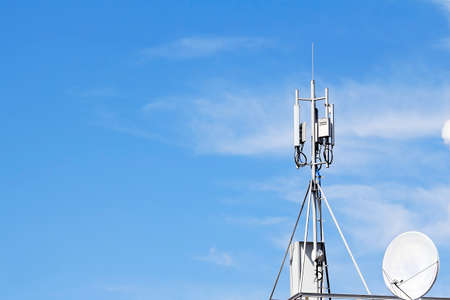transmitting: Receiving and transmitting antenna  cellular mobile communications on the roof