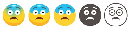 Yellow face with blue forehead, open frown, and raised eyebrows. Scared or surprised emoticon flat vector icon set