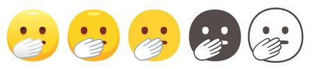 Emoji with hand over mouth