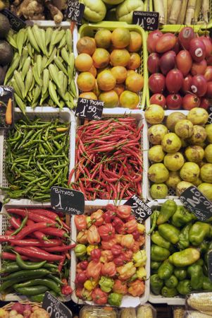 Fresh vegetables at the Boqueria, Barcelonas largest organic market