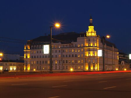 One of Moscow`s building is at night      Stock Photo