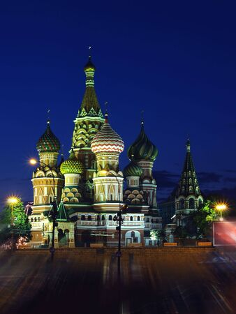 St. Basil's Cathedral  is at night  Stock Photo - 4409288