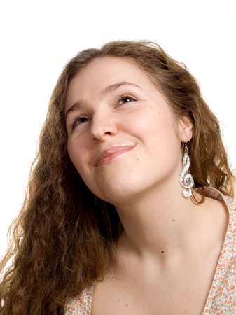 Isolated portrait of a young woman Stock Photo