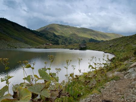The mountain lake is in september  Stock Photo