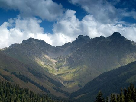 There is the mountain in the Caucasus Stock Photo