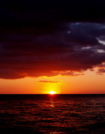 Red sunset in sea        Stock Photo