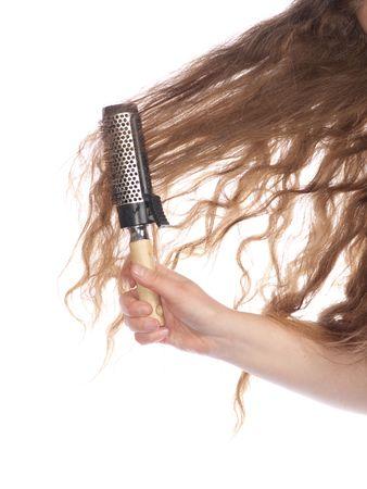 Female long hair isolated on white
