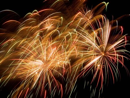 Motley fireworks in the sky