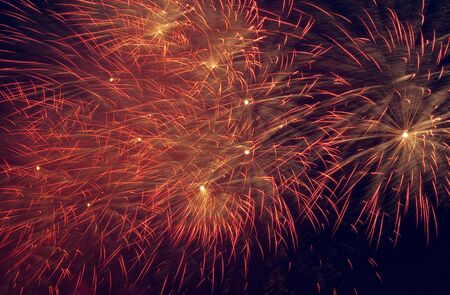 Motley fireworks in the sky Stock Photo