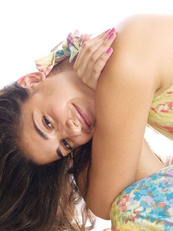 sunburned: brunette woman isolated on white Stock Photo