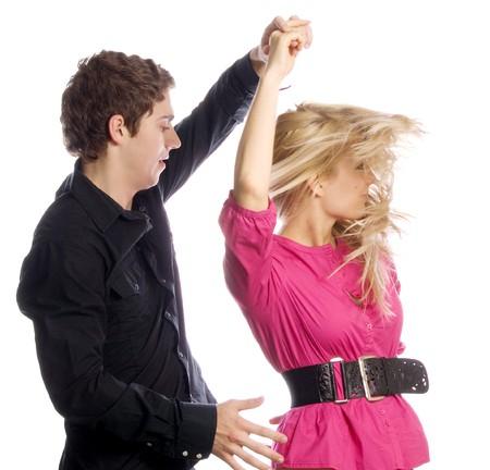 chicas bailando: Bailarines aislados en blanco