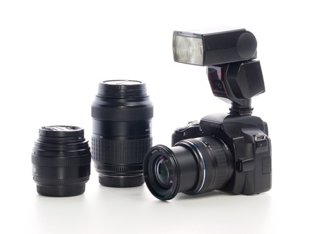 Prossesional digital camera with zoom lens over white background Stock Photo