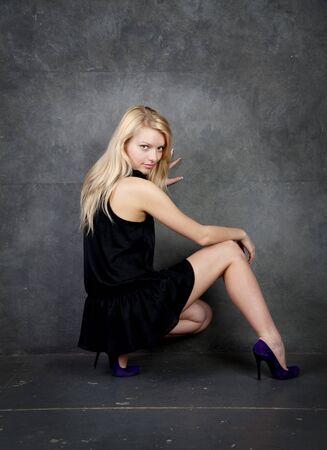 Studio portrait of attractive blonde photo