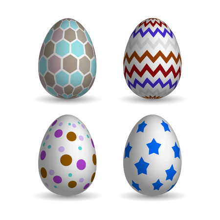 realistic easter eggs set