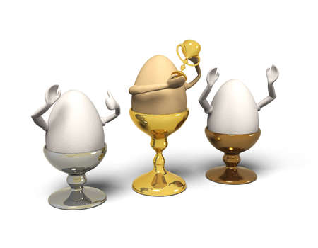 jubilate: Three eggs in egg-cups are winner. A brown egg sits in a golden cup, holding a trophy. Two white eggs sitting in silver and bronze cups cheering. Stock Photo